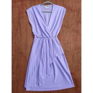 Vintage Jackie O purple pleated splice midi dress